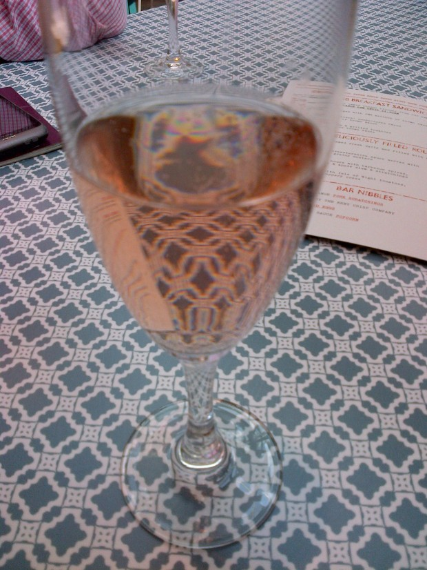 A glass of Chapel Down's fizzy pink, drunk at one of Jamie Oliver's Union Jack restaurants.