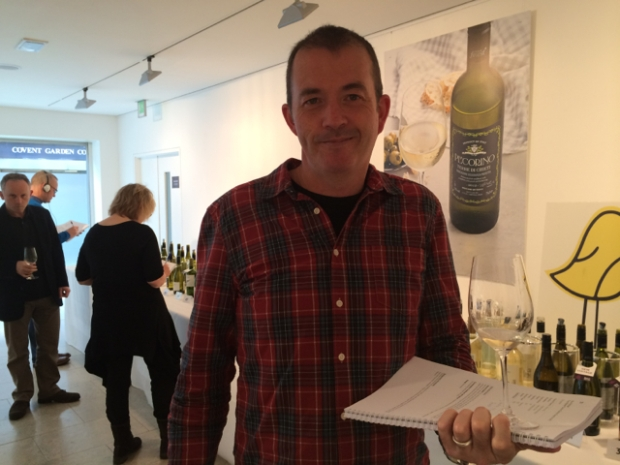"Jamie Goode at the Tesco press tasting sporting what I like to call ""The Natural Wine Check Shirt"""