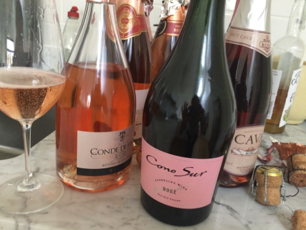 A small part of the kitchen carnage from my recent sparkling rosé tasting